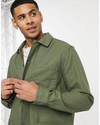 Burton Рубашка Навыпуск Цвета Хаки С 3 Карманами -зеленый Цвет
