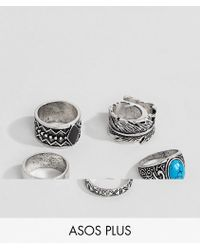 ASOS - Plus Chunky Ring Pack In Burnished Silver With Feather And Turquoise Stone - Lyst