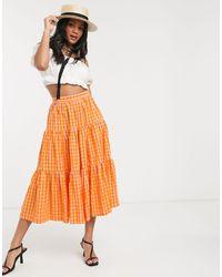 ASOS Tiered Gingham Midi Skirt - Orange