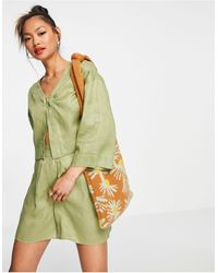ALIGNE Organic Linen Cropped Jacket Co-ord - Green