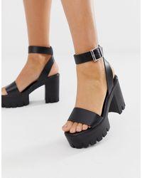 ASOS Opvallende Sandalen Met Hak En Plateauzool - Zwart