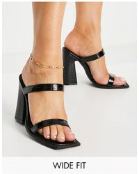 Raid Wide Fit Exclusive Megha Block Heeled Mules With Square Toe - Black