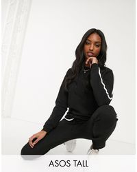 ASOS Asos Design Tall Tracksuit Cute Sweat / Basic jogger With Tie With Contrast Binding - Black