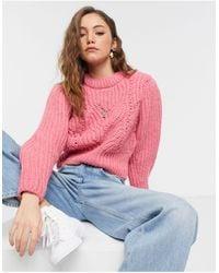 TOPSHOP Detail Sleeve Sweater - Pink