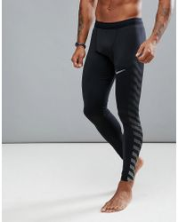 Nike - Power Tech Flash Reflective Tights In Black 859268-010 - Lyst