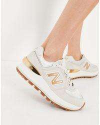 New Balance 574 - sneakers beige/oro con zeppa - Bianco