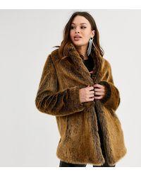 ASOS Asos Design Petite Stand Collar Faux Fur Coat - Brown