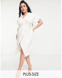 Closet London Plus Robe cache-cœur mi-longue style kimono - ivoire - Blanc