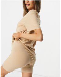 Lindex – SoU Katie – Set aus Oversize-T-Shirt und Legging-Shorts aus Bio-Baumwolle - Natur