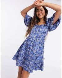 Mango Broderie Floral Smock Dress - Blue