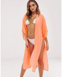 ASOS Kimono da mare con allacciatura arancione fluo