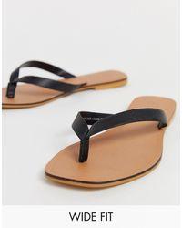 ASOS Wide Fit Florence Leather Flip Flop Sandals - Black