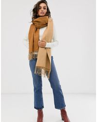 Y.A.S Double Sided Brushed Colour Block Scarf-brown