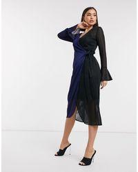 Never Fully Dressed Платье С Контрастной Темно-синей Вставкой И Запахом -мульти - Синий