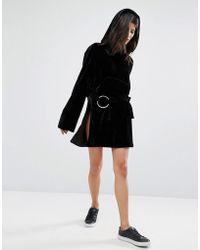 House Of Sunny Velvet Side Split Mini Skirt With Ring Detail - Black