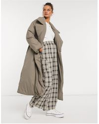 ASOS Puffer Maxi Coat With Belt - Brown
