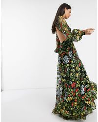 ASOS Summer Floral Embroidered Maxi Dress With Open Back - Multicolor