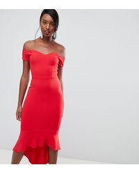 John Zack Красное Платье Миди С Открытыми Плечами И Оборкой -красный