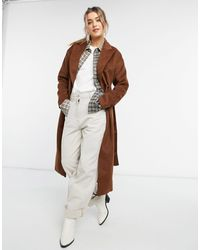 New Look Светло-коричневое Пальто Макси С Поясом -коричневый Цвет