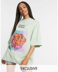 Collusion T-shirt oversize à imprimé floral - Sauge - Vert