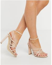 Truffle Collection Strappy Sandal With Flat Heels - Natural