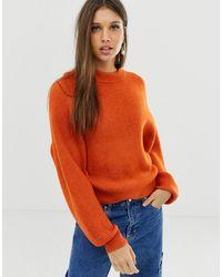 ASOS Fluffy Sweater With Balloon Sleeve - Orange