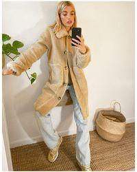 Vero Moda Teddy Coat With Faux Fur Trims - Natural