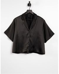 New Look Черная Атласная Рубашка От Комплекта -черный Цвет