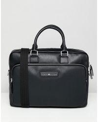Tommy Hilfiger - Corporate Mix Faux Leather Laptop Bag In Black - Lyst