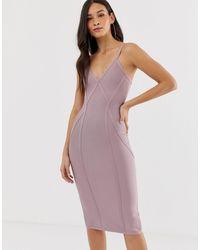 The Girlcode Bandage V Neck Plunge Dress With Contour Lines Midi Dress - Purple