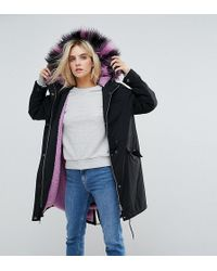Noisy May Petite | Parka With Faux Fur Hood | Lyst