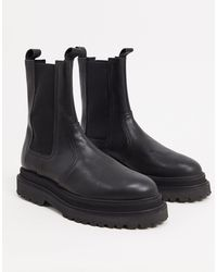 ASOS High Chelsea Calf Boots On Stacked Sole - Black