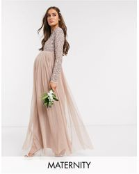 Maya Maternity Bridesmaid Long Sleeve Maxi Tulle Dress With Tonal Delicate Sequin Overlay - Multicolour
