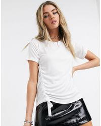 AllSaints Ryder Lux Ruched Side Tie T-shirt - White