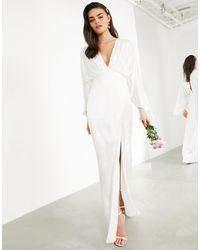 ASOS Cari Satin Wrap Wedding Dress With Kimono Sleeve-white