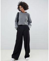 ASOS Wide Leg Pants With Pleat Detail - Black