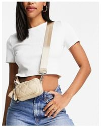 TOPSHOP Micro Quilted Nylon Cross-body Bag - Blue
