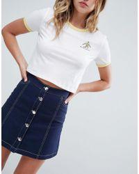 Monki - A-line Denim Button Up Mini Skirt In Navy - Lyst