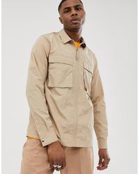 ASOS Zip Through Overshirt In Sand With Utility Pockets - Natural