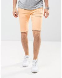 ASOS - Design Denim Shorts In Super Skinny Peach With Rips - Lyst