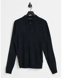 French Connection Polo a maniche lunghe blu navy