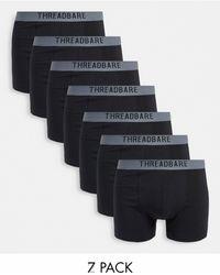 Threadbare Warden 7 Pack Boxers - Black