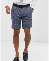 ASOS Pantalones cortos de traje de corte slim de lino azul a cuadros
