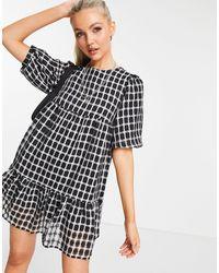 New Look Черное Платье Мини В Клетку С Объемными Рукавами И Присборенной Юбкой -черный Цвет
