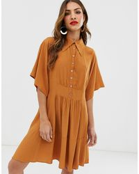 Y.A.S Oversized Mini Shirt Dress - Brown
