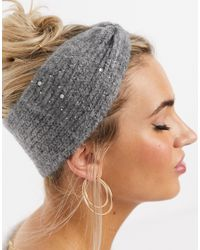 Pieces Knitted Head Band With Embellishment - Gray