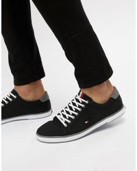 Tommy Hilfiger - Harlow Lace Up Canvas Plimsolls In Black - Lyst