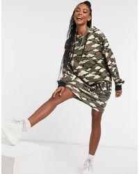 Love Moschino Hooded Cloud Camo Jersey Jumper Dress - Green