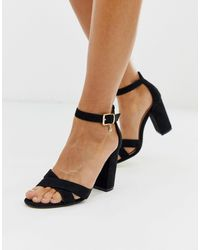 Office Holborn Cross Vamp Block Heel Sandals - Black