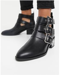 Pull&Bear Ankle Boot With Buckle Detail - Black